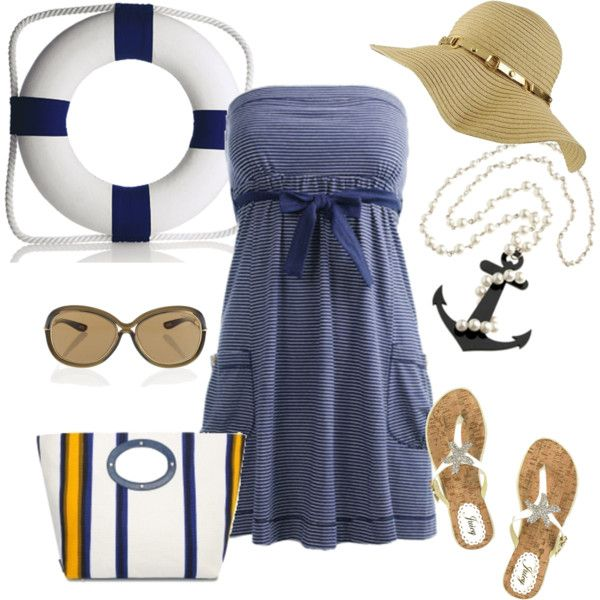 Nautical-inspired outfit; perfect for vacation!