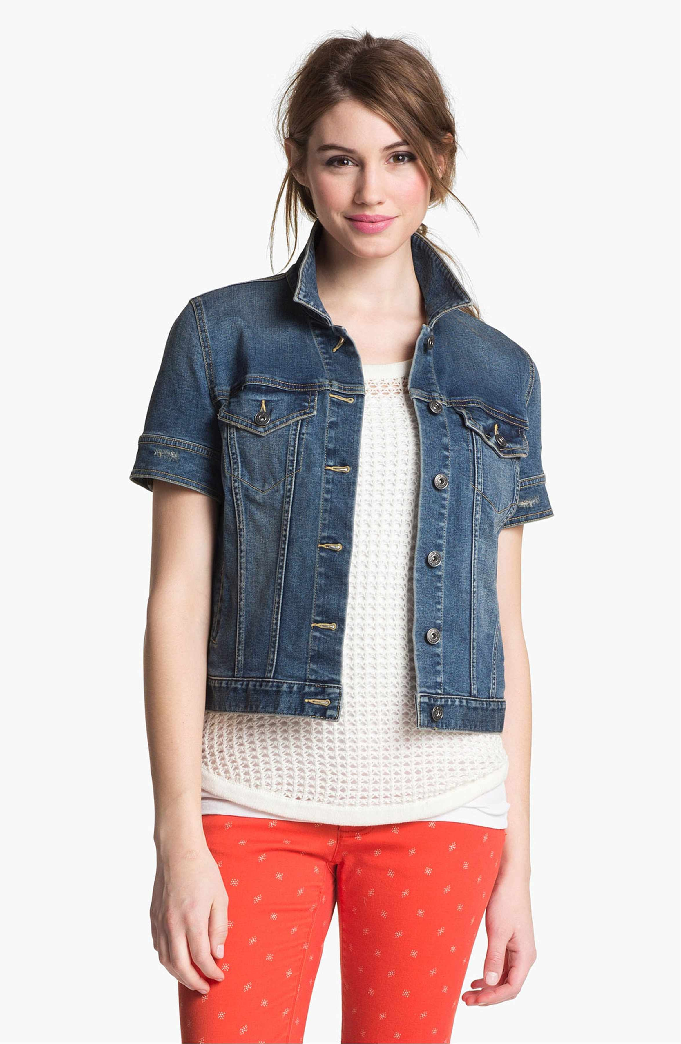 8fc5470c23 Main Image - Two by Vince Camuto Short Sleeve Denim Jacket