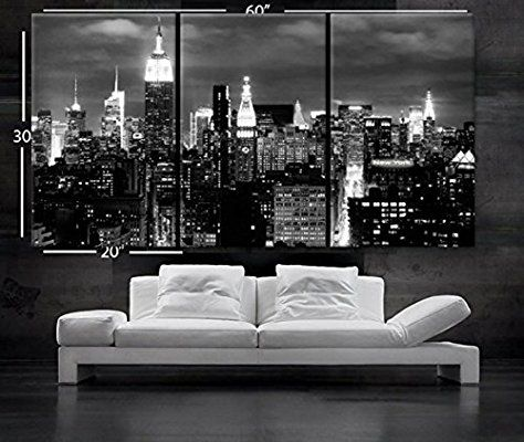 Nan wind 3 pcs wall art beautiful new york city skyline black white canvas art