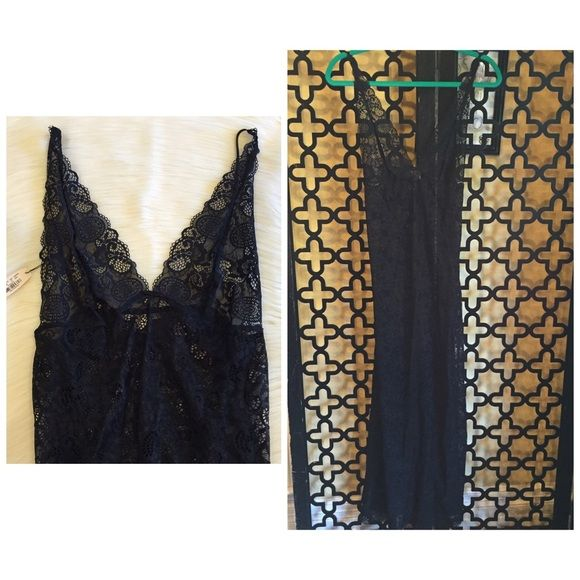 VS ALL OVER SEE THOUGH LACE LINGERIE DRESS Never worn, brand new with tags! Dress has stretch to all around. There is a slot on both sides that goes from waist to bottom of dress. It's is 60in long.. Also has adjustable straps. Victoria's Secret Intimates & Sleepwear