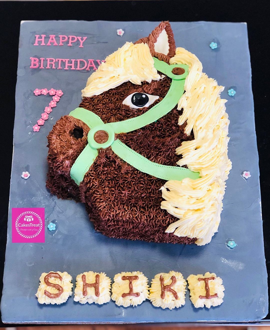 Horse theme chocolate cake for a cute little princess who loves horses.