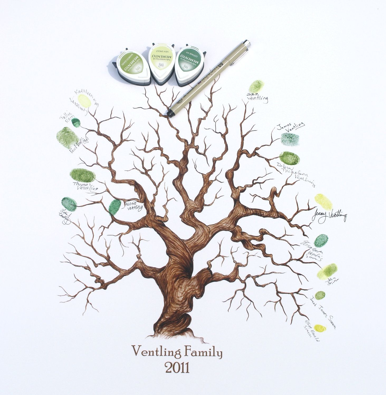 Custom Wedding Accessories Savannah Live Oak Thumbprint: Custom Hand Drawn Family Tree, Complete Kit 11x14