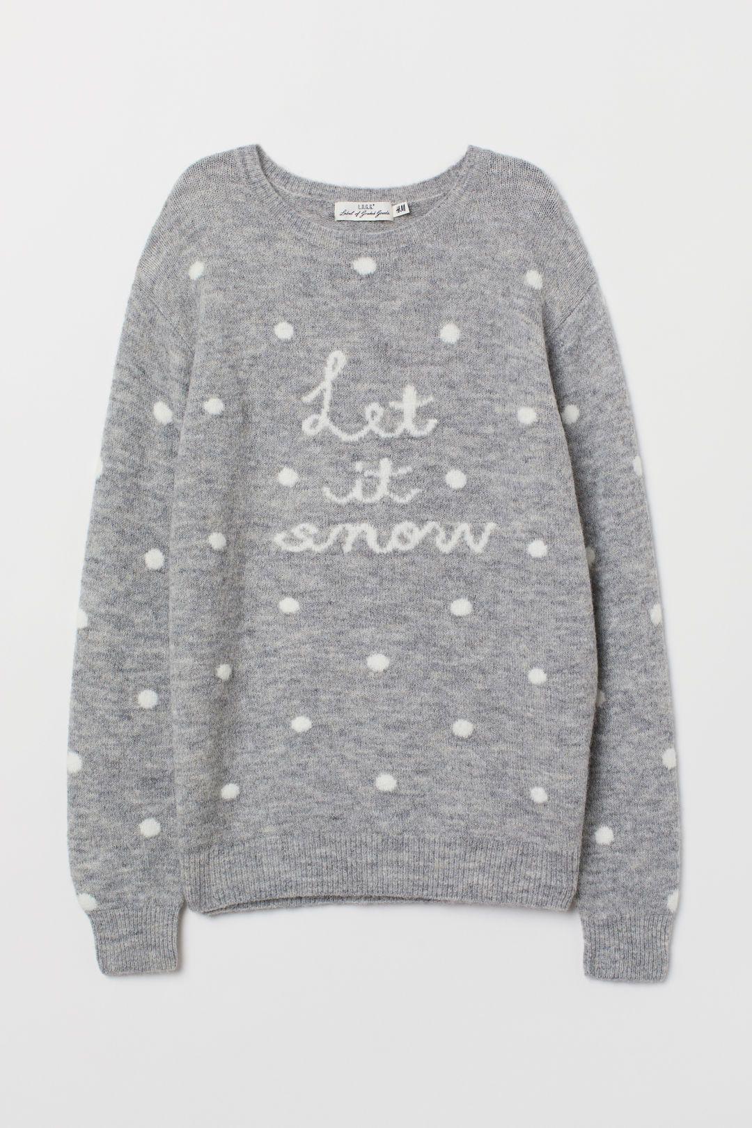 Christmas Jumper Ladies Women Cute Polar Bear Xmas Knit Sweater Pullover Grey