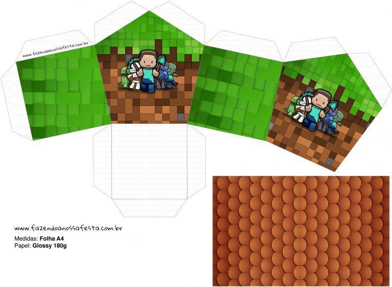 Molde Casinha Minecraft Fazendo A Nossa Festa Com Imagens