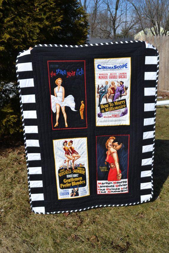 Edredon Marilyn Monroe.Handmade Quilt Marilyn Monroe Hollywood Regency Movie Poster