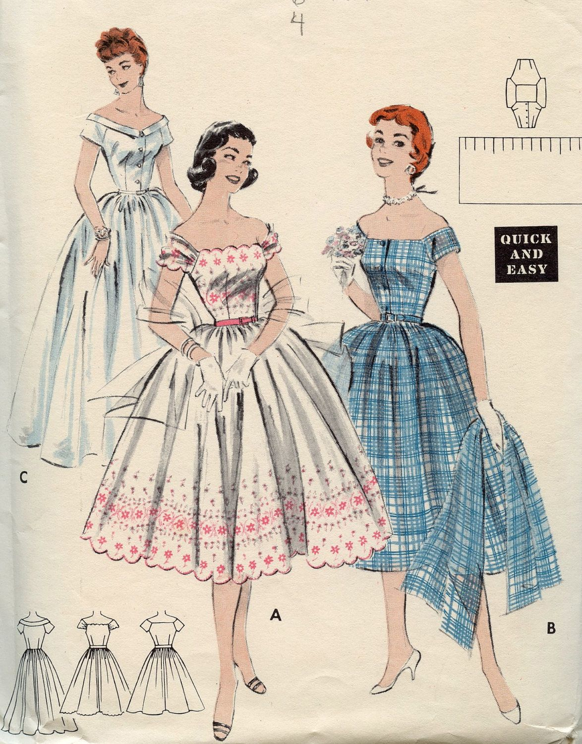 1950s Butterick 7181 Vintage Sewing Pattern - Dress and Stole Formal ...
