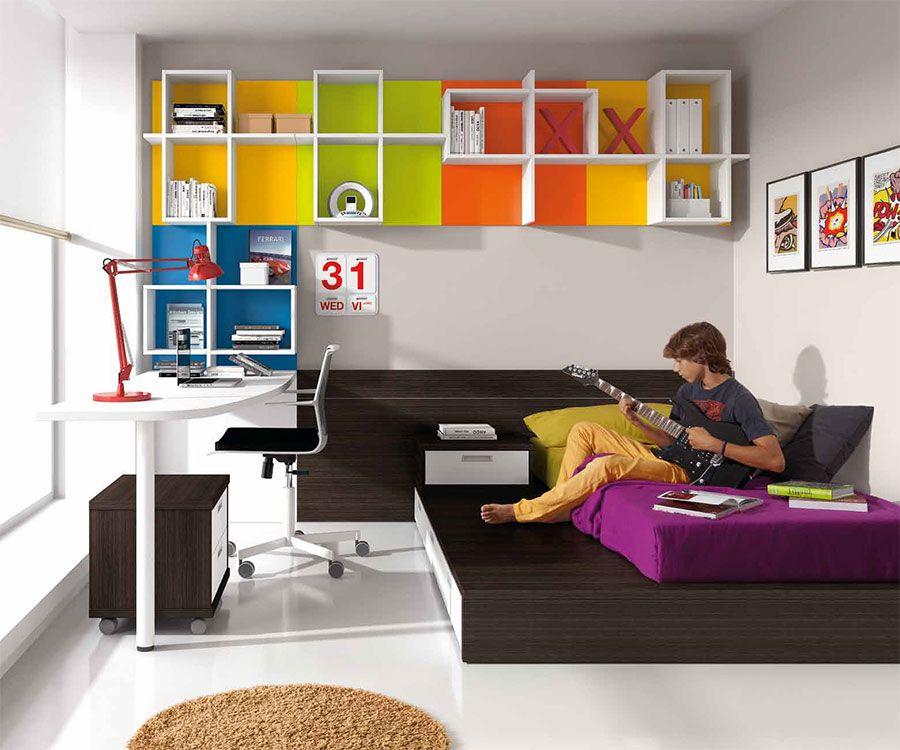 Chambre enfant complète contemporaine KARIMO, avec tatami, coloris ...