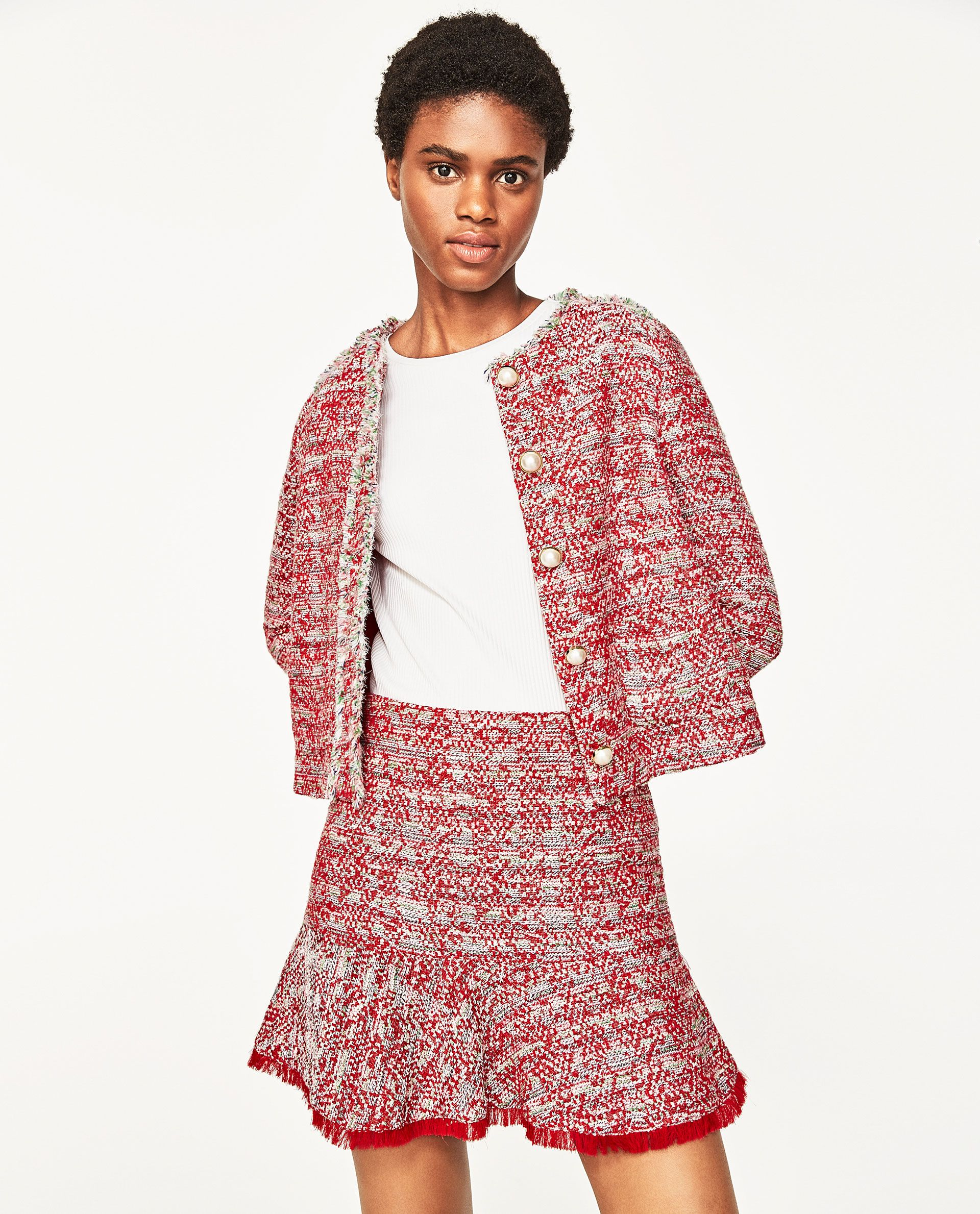 52f995710b ZARA RED TWEED STRUCTURED MINI SKIRT WITH RUFFLE | clothes | Mini ...