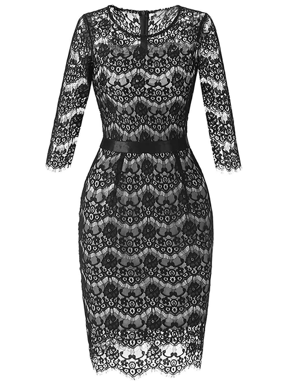 Lace Crochet Bodycon Dress - BLACK S