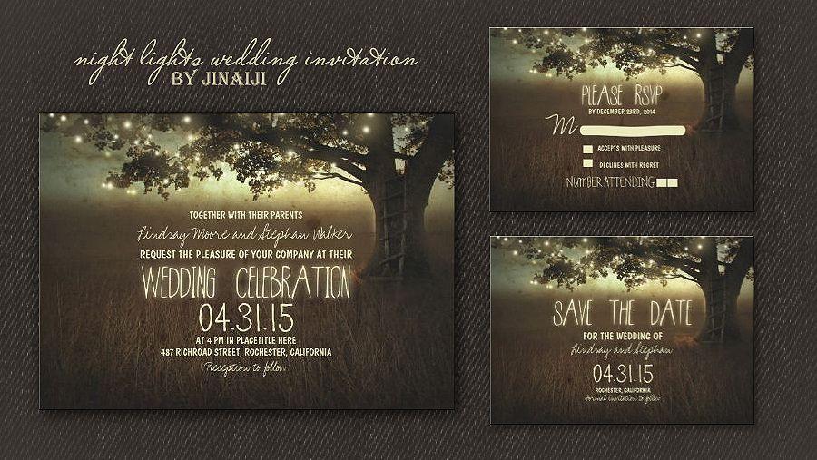 Backyard Wedding Invitation: String Of Lights Rustic Wedding Invitation