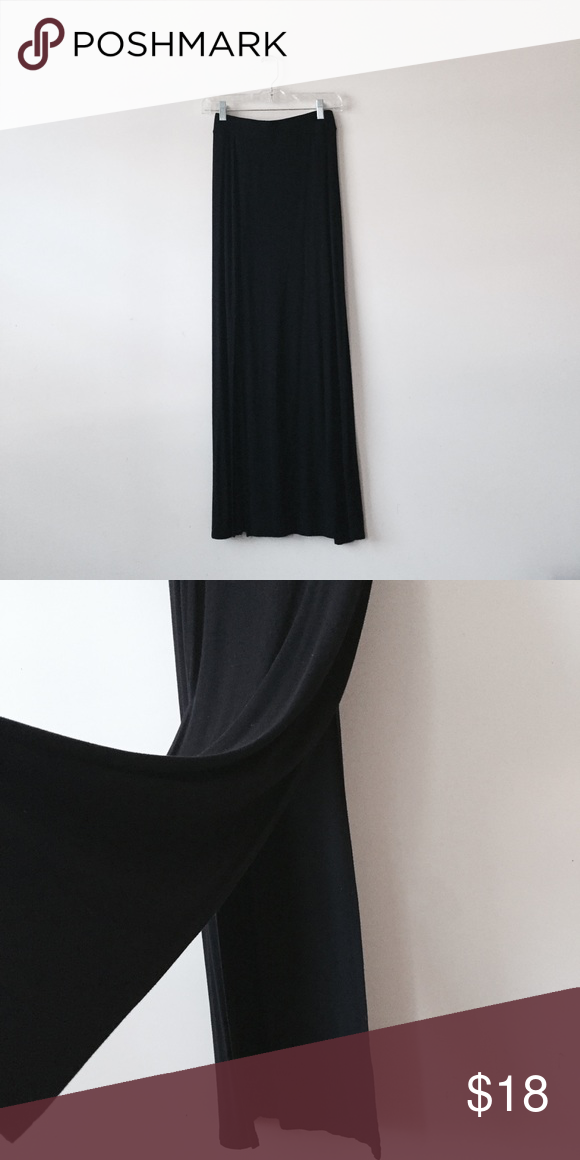 98aff62830e Double slit maxi skirt Versatile black maxi skirt. Jersey knit material  with stretchy waist band. Double slit opening. 41