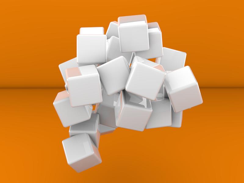 3d Cubes On Orange Background 3d Cube Orange Background Cube