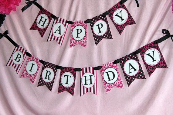 Happy Birthday Printable ~ Printable barbie black and pink happy birthday banner barbie