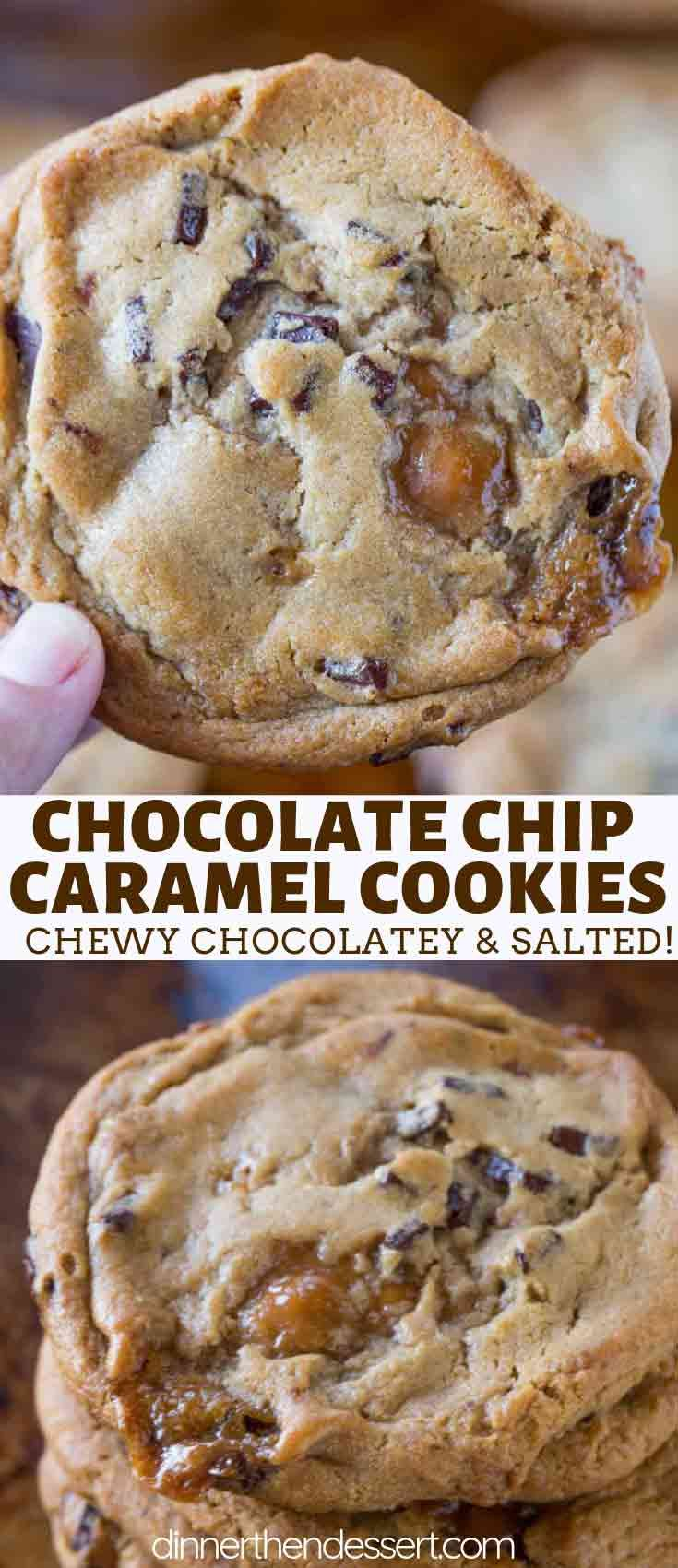 Caramel Chocolate Chip Cookies made with chocolate chunks and chewy caramel bits are the perfect cookie for your Christmas cookie plate! cookies cookie christmas baking dessert chocolate chocol is part of Caramel chocolate chip cookies -