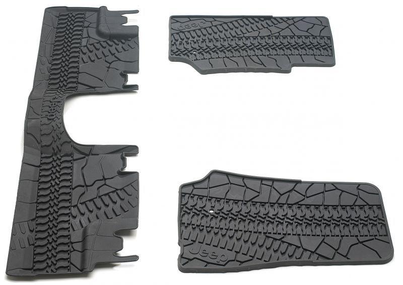 Mopar 82210166ad Floor Slush Mats With Tire Tread Pattern For 07 13 Jeep Wrangler Unlimited Jk 4 Door