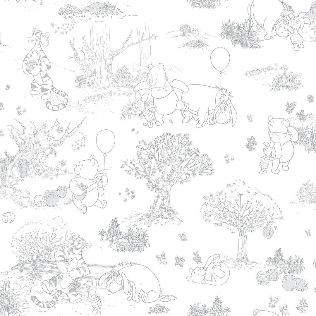 Disney Kids Iii Pooh Friends Toile Wallpaper Blackwhite