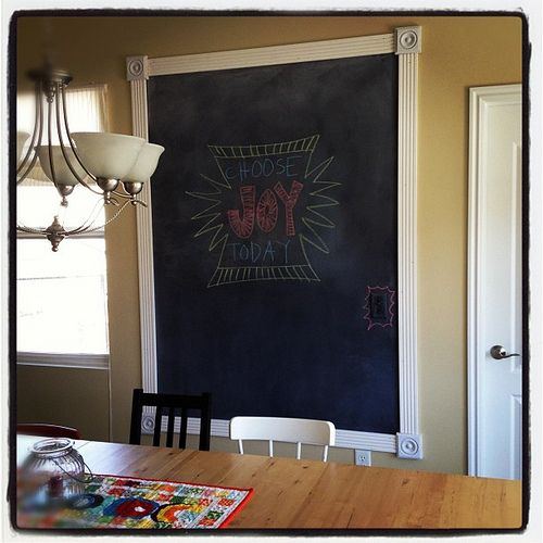 chalkboard paint and molding // photo from erin at two more