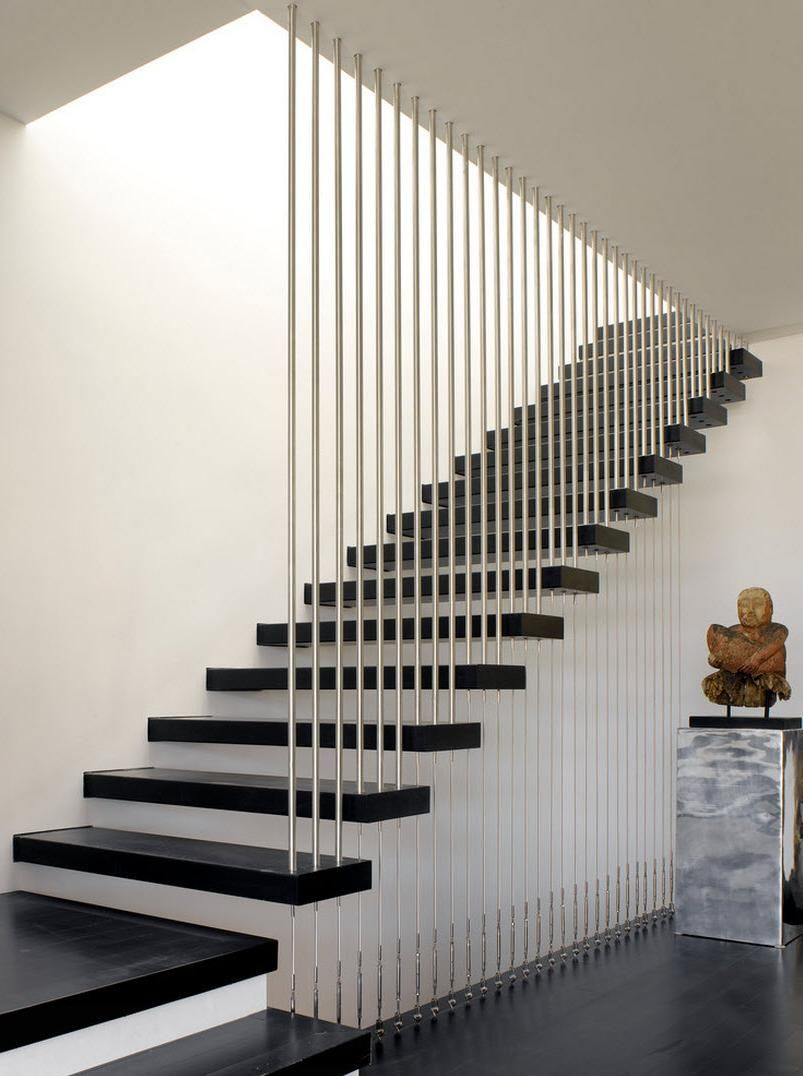 Elegant Design Of Stairs With Vertical Circular Aluminum Railings Steel  Braces That Combines Well With The Steps Painted In Black Design Of Staircases  And ...