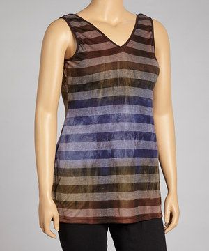 Thanks to the style of this vibrant tank, every closet can have a flattering pop of color. Warm-hued stripes and a feminine scoop neck give the burnout design some classic appeal.