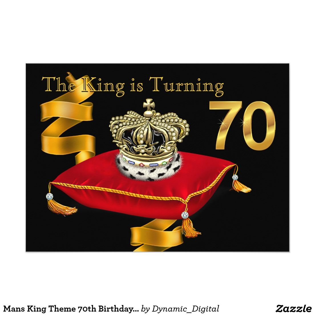 Mans king theme 70th birthday party card 70 birthday parties 70 mans king theme 70th birthday party 5x7 paper invitation card biocorpaavc