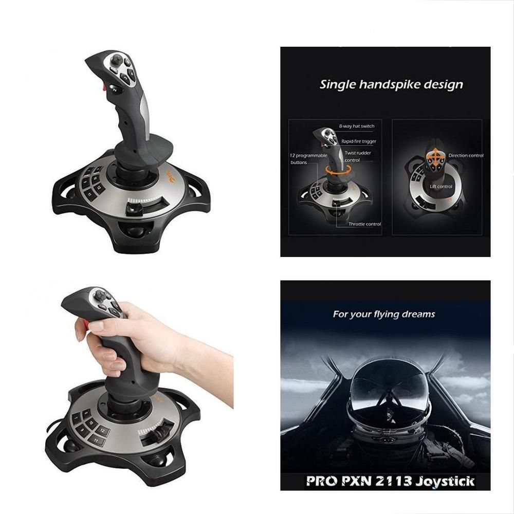 Pc Joystick Usb Gaming Controller With Vibration Feedback And 8 Way Switch Throttle Wired