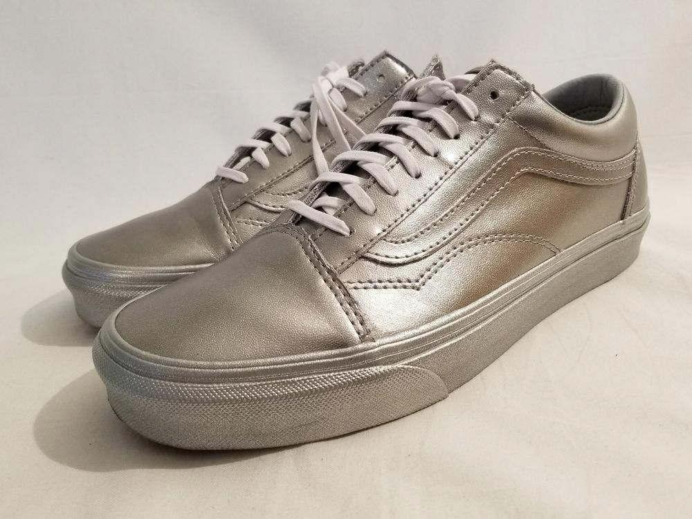 020bbf36aa Vans Metallic Sidewall Silver Leather Old Skool Skate Shoe Womens Sz 6 7 8  8.5 9  fashion  clothing  shoes  accessories  womensshoes  athleticshoes   ad ...