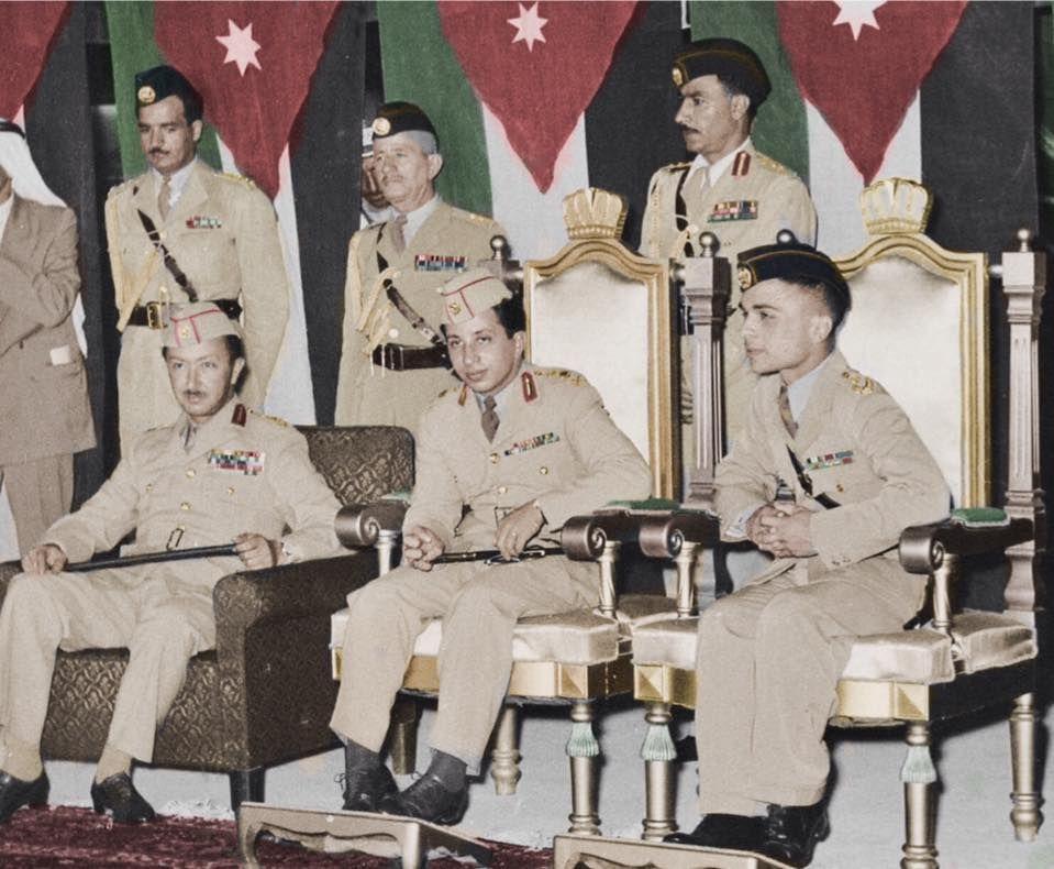 ملك العراق فيصل الثاني مع ملك الاردن الملك حسين ولي العهد الامير عبد الاله رحمهم الله Historical Pictures Baghdad Iraq Baghdad