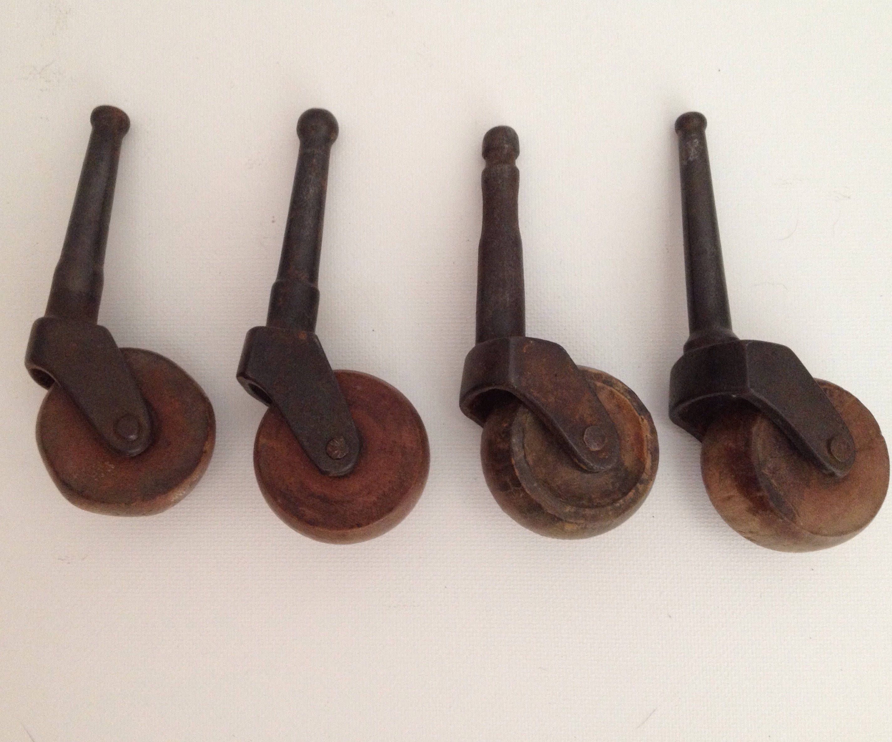 Antique Stem Caster Wheels 1 1 2 Inch Lot Of 4 Wooden Peg Wheel Casters Wood Industrial Vintage Hardware By Aroundth Vintage Hardware Stem Casters Vintage Wood