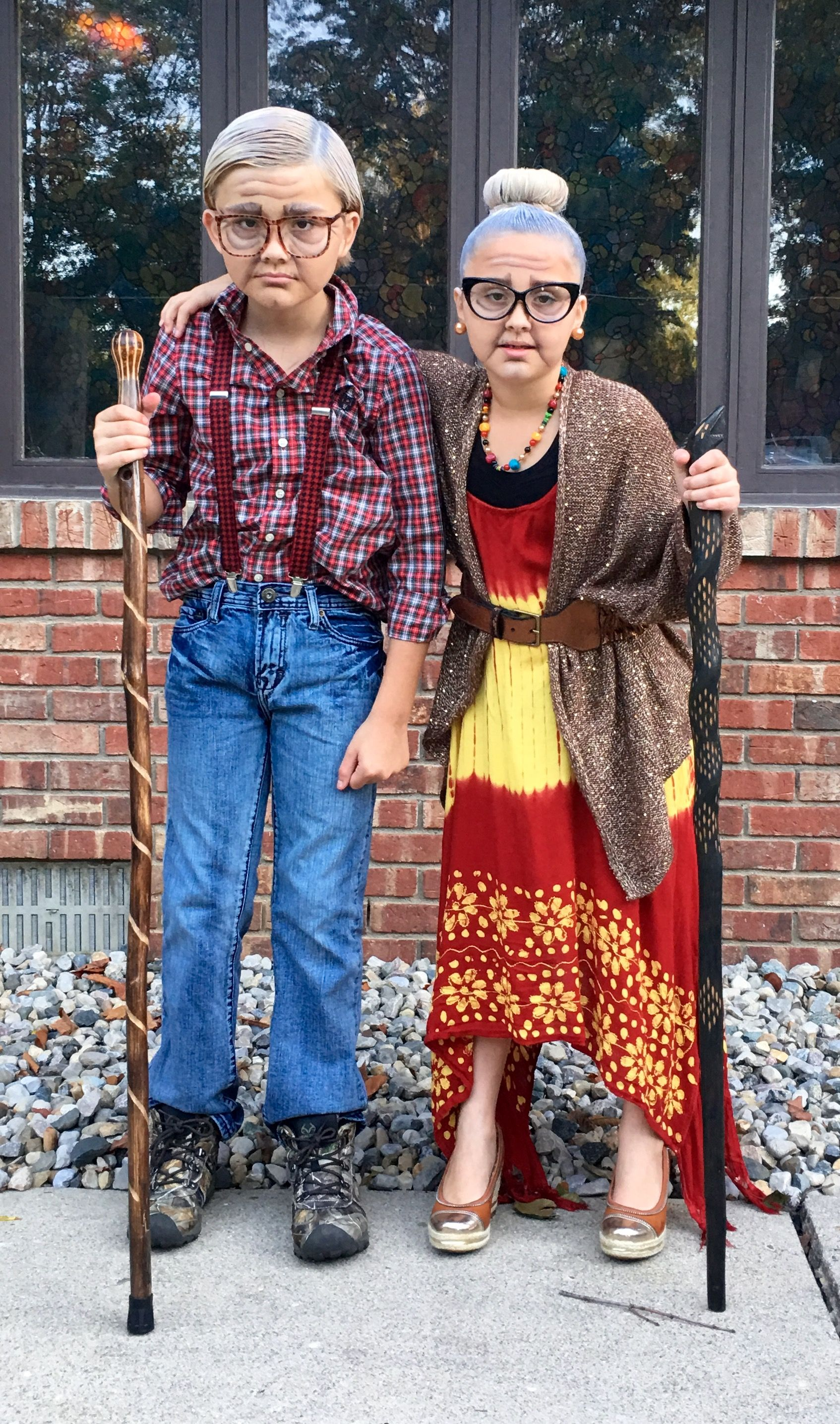 diy old age grandpa grandma makeup costume old couple bill willma 100th day of school
