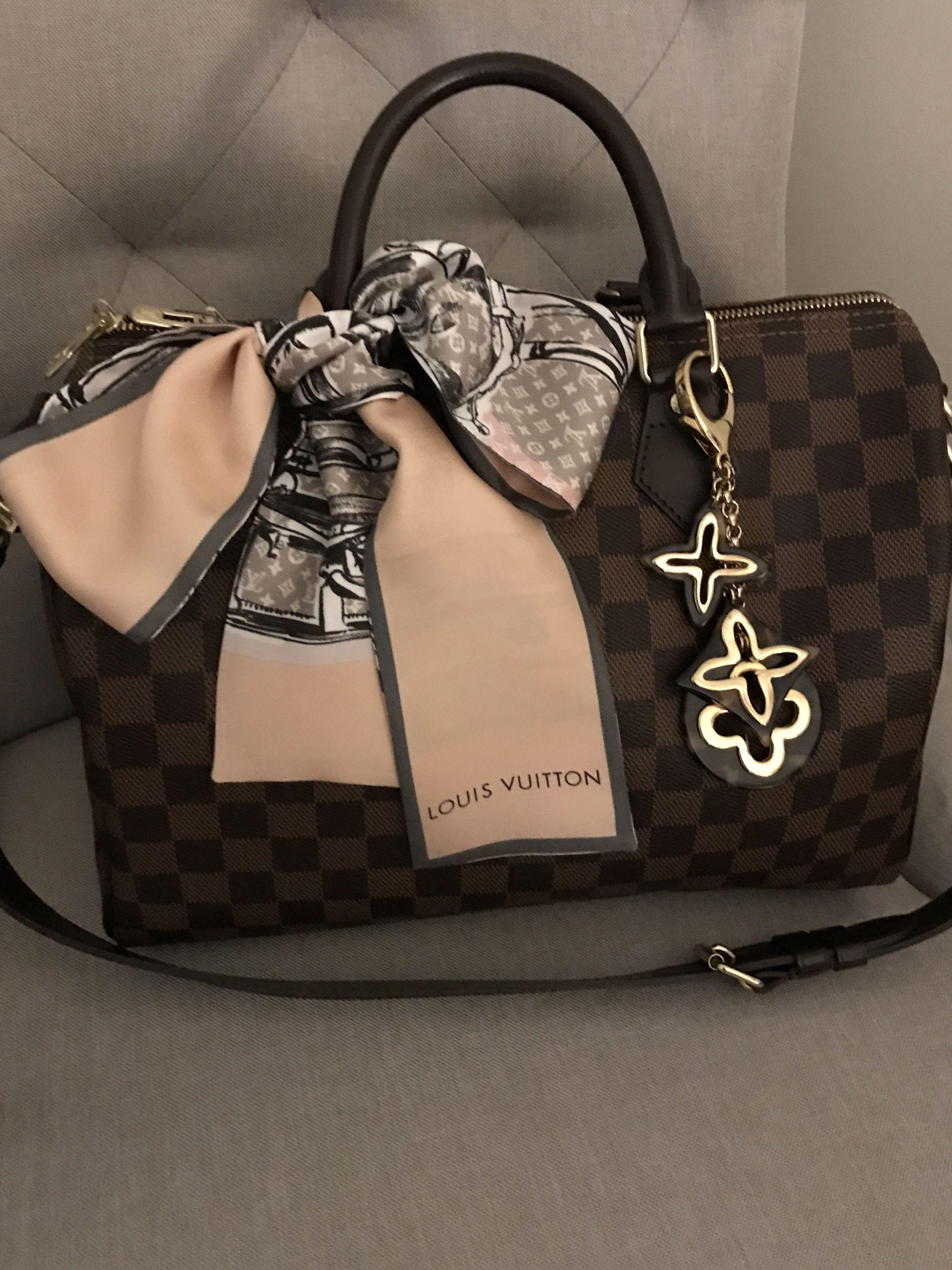 c06f13de3663 Louis Vuitton speedy b 30 damier ebene.... so pretty with lv bandeau and  charm