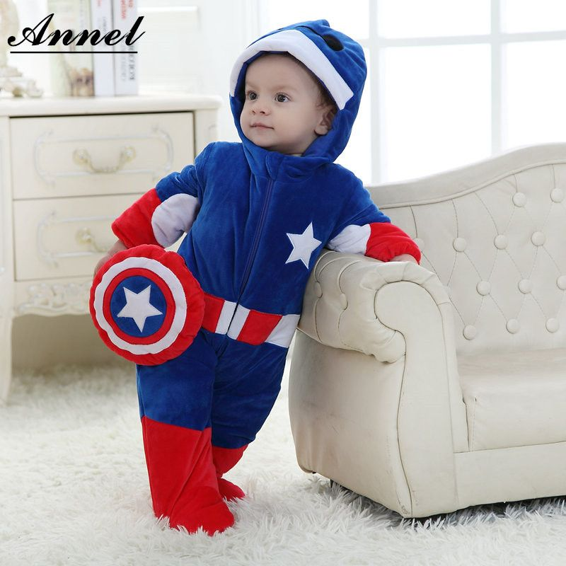 7e0af35a93979 Captain America Baby rompers winter thickening cartoon Superman ...
