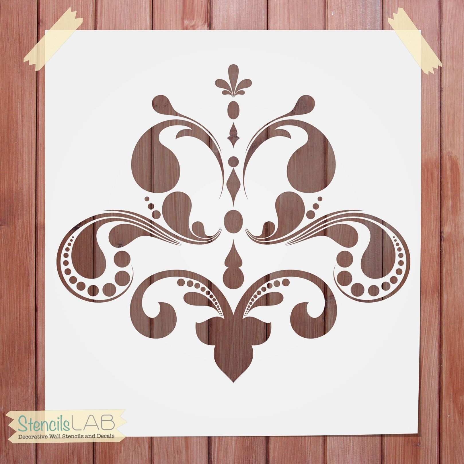 The use of our intense damask pattern stencils on large wall decorative wall stencil damask stencil for wall decor reusable stencil amipublicfo Image collections