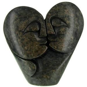 Soapstone Kissing Creation Carving from Zimbabwe 4 in. (Hand-carved from natural stone.) $54.00