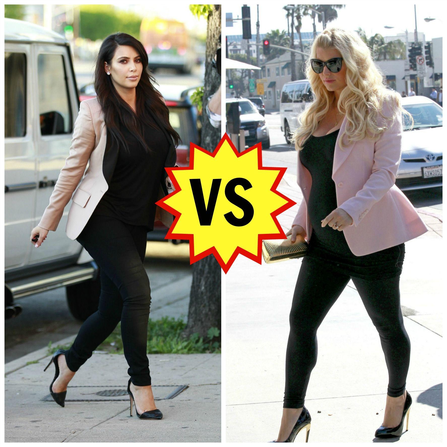 Kim kardashian vs jessica simpson maternity style is more similar kim kardashian vs jessica simpson maternity style is more similar than youd ombrellifo Images
