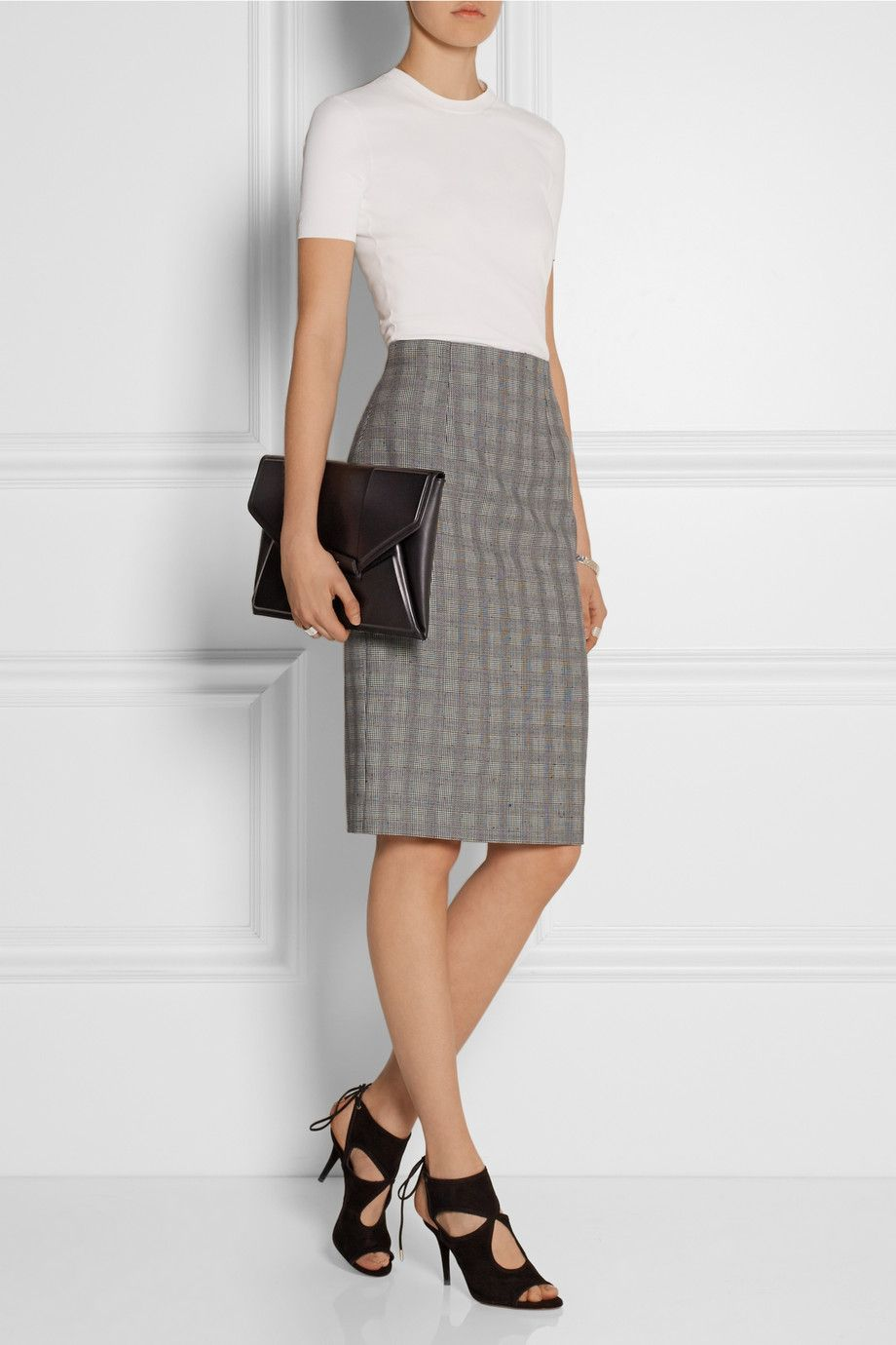 af4160ffd3 Alexander McQueen | Prince of Wales check wool-blend pencil skirt |  NET-A-PORTER.COM