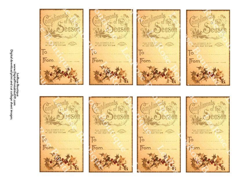 Free Vintage Printable Christmas Gift Tags | Vintage Christmas ...