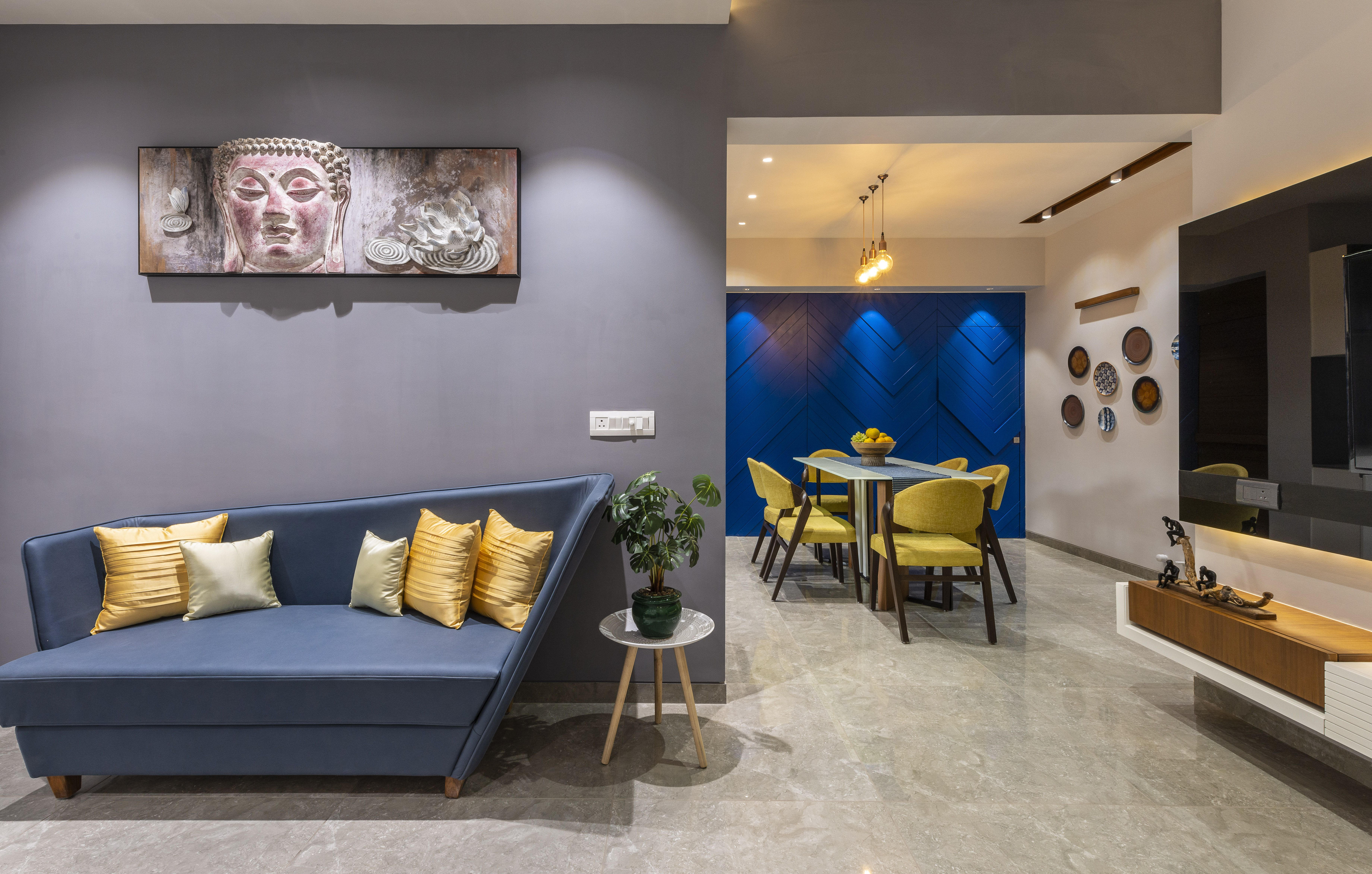 A 1 120 Sq Ft Ahmedabad Apartment With A Bold Blue Wall D