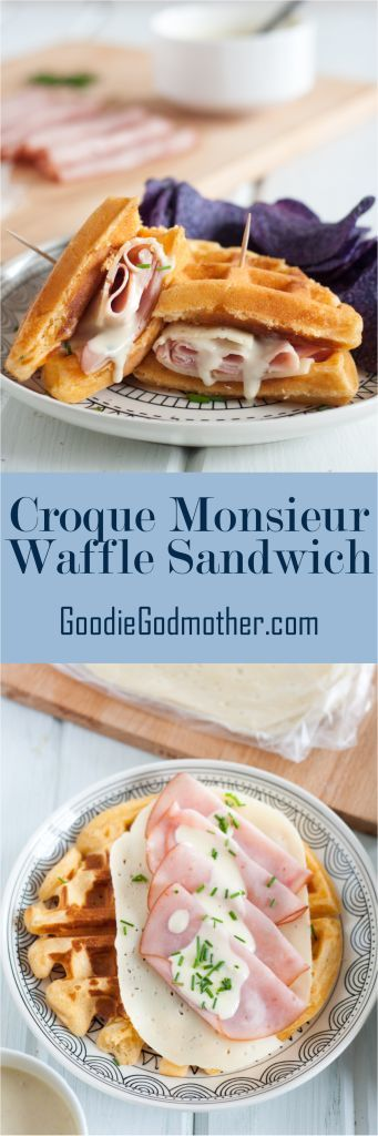 A Croque Monsieur Waffle Sandwich is a great alternative to traditional brunch dishes. It also makes a great lunch and a unique breakfast-for-dinner dinner idea! Get the easy recipe on GoodieGodmother.com #croquemonsieur