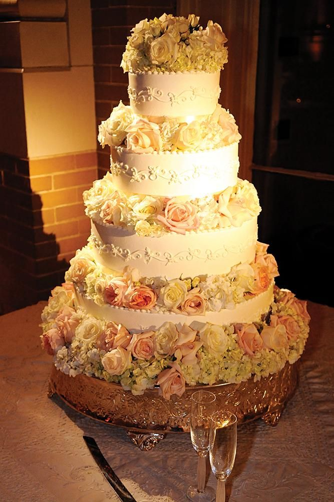 Cream Wedding cake with roses in Shades of Peach | Peach and Cream ...