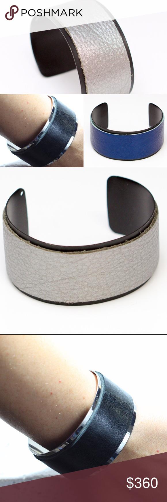 "Metallic leather combo cuff bundle retail $900 Metallic blue/black leather cuff bracelet (2) metallic black/chrome leather cuff bracelet (2) pewter/black leather cuff bracelet (2) they are 6.75"" adjustable David Galan Jewelry Bracelets"