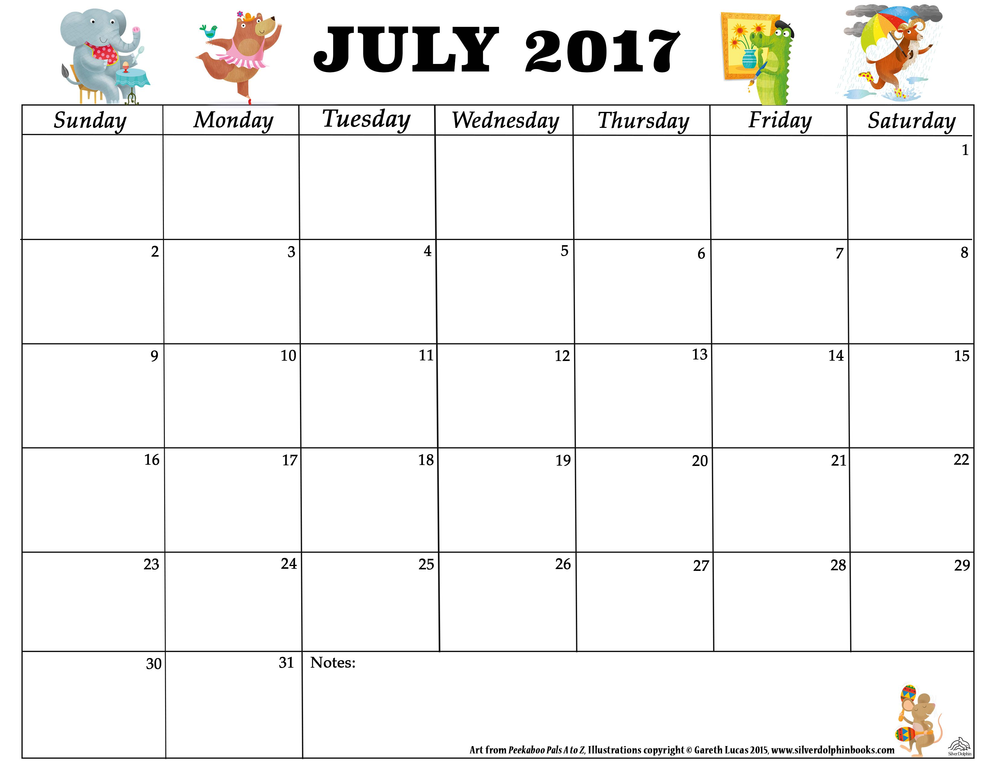 2017 July Printable Calendar | July 2017 Calendar | Pinterest ...