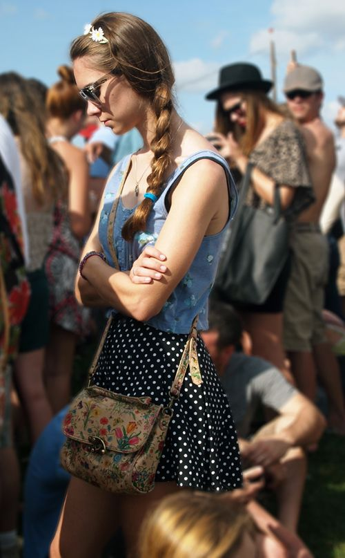 polka dot, floral and braid. Perfect fest fashion combo!