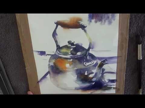 Demonstration Aquarelle Peindre Des Gouttes D Eau Sur Une Toile
