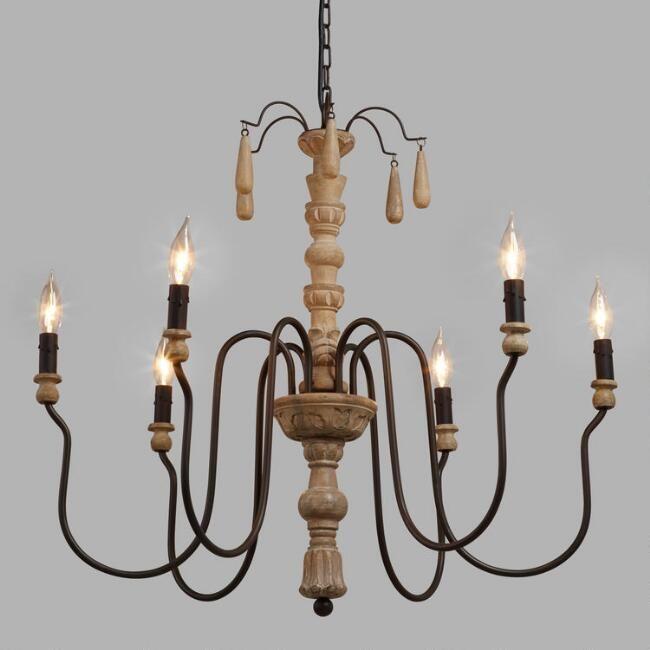 Perfect Wood Beaded Corinne Chandelier   From World Market $249.99 Idea