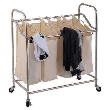 Costway 4 Bag Laundry Rolling Cart Basket Hamper Sorter Storage