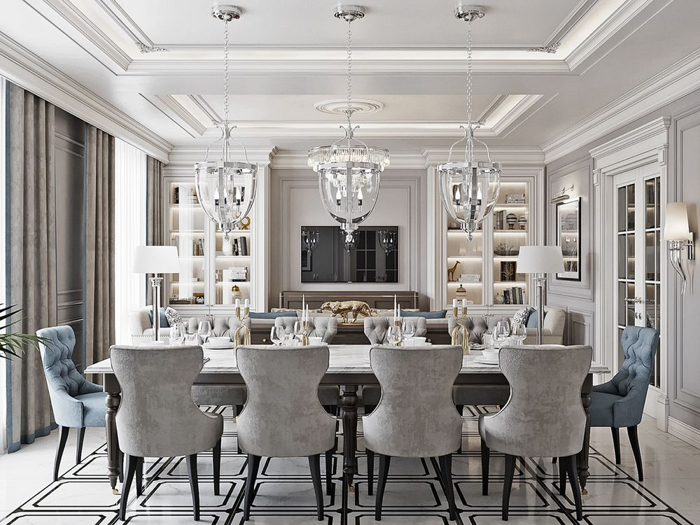 The Apartment In Vladimir Livingroom New Classic Style On Behance Classic Dining Room Dining Room Design Luxury Dining Room New traditional style living room