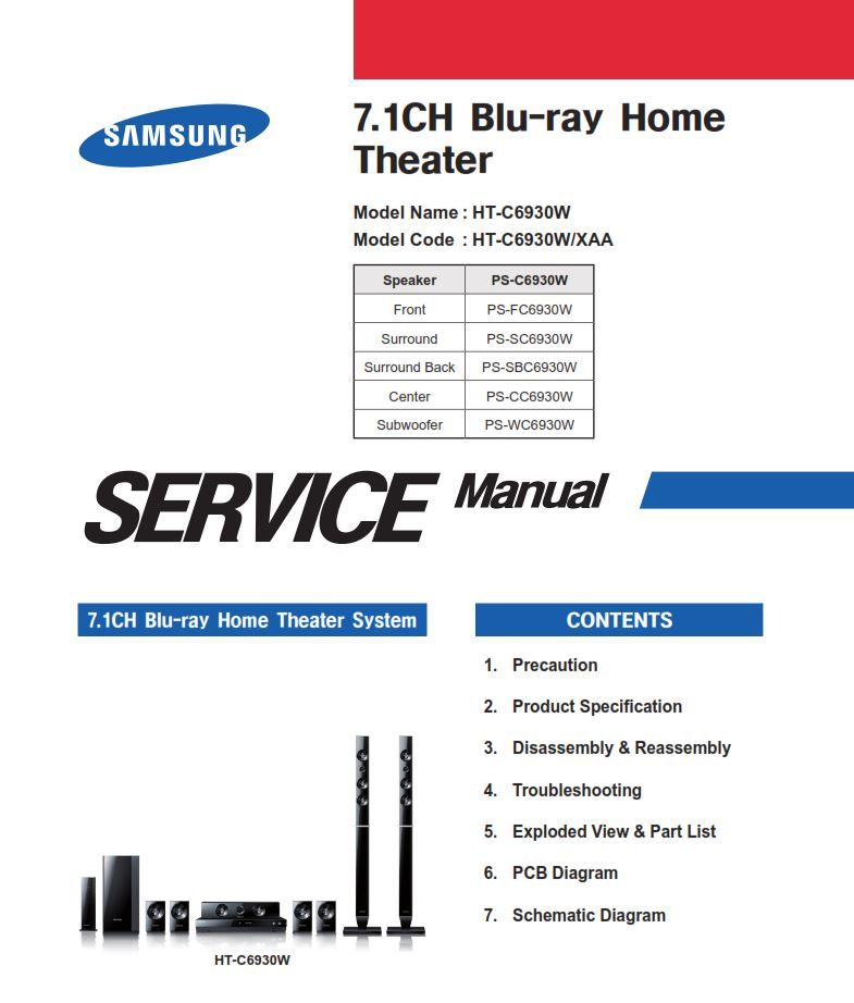 Samsung Ht C6930w Home Theater System Service Manual And Repair Guide Repair Guide Home Theater System Repair