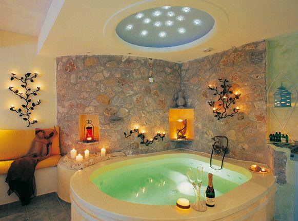Astartes Suites Greece Indoor Hot Tub Romantic Bathrooms Stylish Bathroom