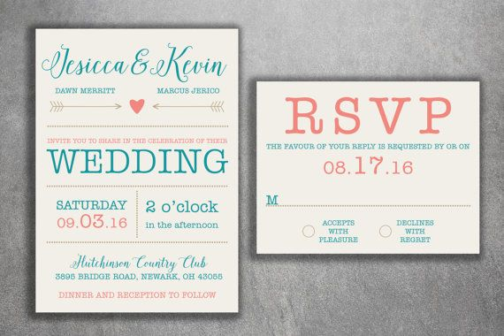 Wedding Invitations Set  Modern Wedding Invitations - 99 cents per set can change colors