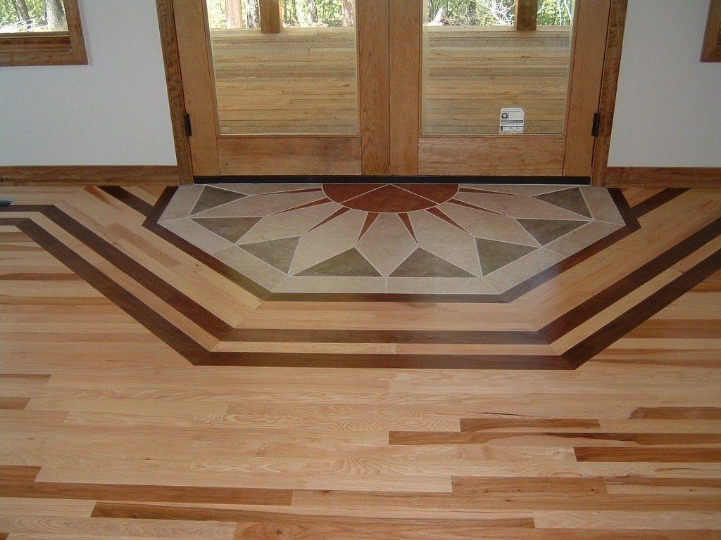 Hickory Hardwood Flooring With A Walnut Border And Custom Tile Inlay Modern Wood Floors Wood Floor Design Wood Floor Pattern